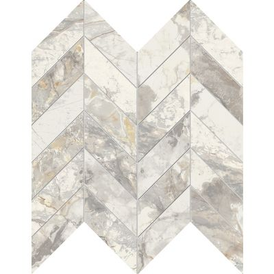 Golden Age White Chevron Mosaic 30x30cm
