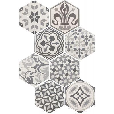 Hexatile Harmony Decor Black & White 17.5 x 20cm