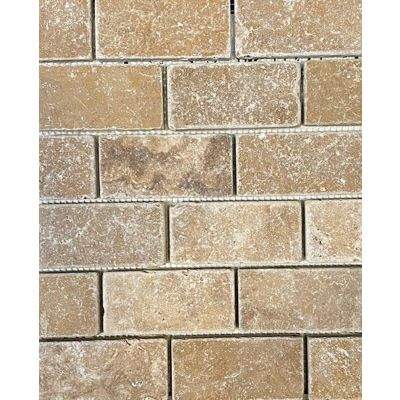 Noce Travertine Brick Effect Tumbled Mosaic 30 x 30cm